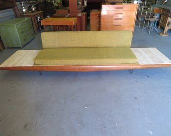 Mid-Century Modern Adrian Pearsall Retro 10' Floating Platform Sofa with Travertine End Tables (NOT FREE SHIPPING)