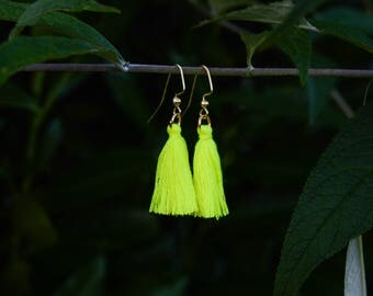 Handmade Neon Yellow Tassel Earrings