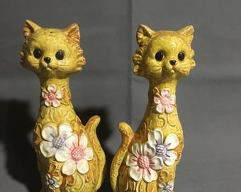 "Vintage Yellow Ceramic Cat Salt and Pepper Shakers with Flowers 9"" high Made in Japan"