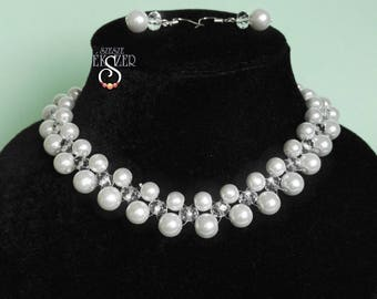 Pearl, crystal necklace  bridal necklace, white beads