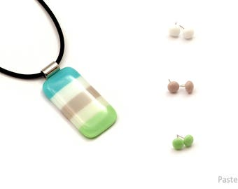 Fivecolour fused glass necklace with 3 mini earrings