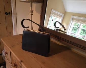 Navy blue leather kelly bag