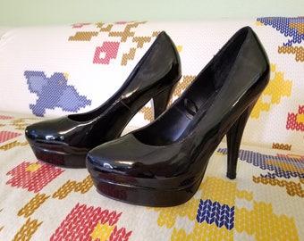Playboy Pin-Up Satin Black Kitten Heels - Size 10