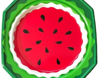 12 Vintage Watermelon Heavy-Duty Plastic Plates--Never Used-Dishwasher and Microwave Safe--Perfect for Pool, Beach or Deck--4th of July