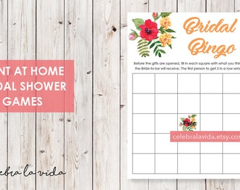 Bridal Bingo Bridal Shower Game. Instant Download. Printable Bridal Shower Game. Yellow Flowers. Red and Orange - 02