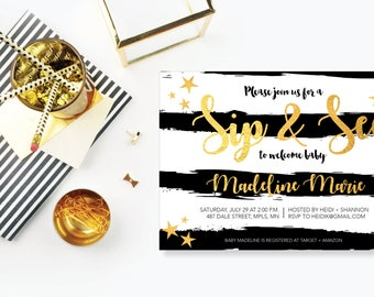 Sip n' See. Instant Download. Printable Sip n' See Invite. Black, White and Gold - 01