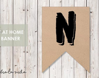 DIY Banner - 'N'. Instant Download. Printable Banner Letters. - 02