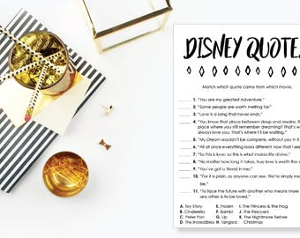 Disney Quotes Game. Instant Download. Printable Ice Breaker Game. Neutral. - 04