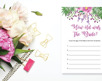 How Old Was the Bride? Bridal Shower Game. Instant Download. Printable Bridal Shower Game. Pink and Purple Flowers. - 03
