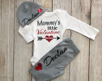 Baby Boy Valentines Day Outfit   Personalized Baby Boy Outfit   Boy  Valentine Outfit   Mommyu0027s