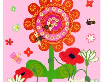 Big Red Flower with poppies and bees - Pink background 8 x 10 print - wall art, decor, interior design