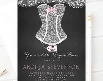 Lingerie shower invitation, White corset invitation, lingerie shower invitation,bachelorette bridal shower invitation
