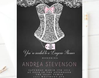 Lingerie shower invitation, White corset invitation, lingerie shower invitation,bachelorette bridal shower invitation,lingerie shower invite