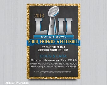 Superbowl party invitation Superbowl football invitation