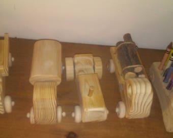 Wooden toy trucks, dump truck, tractor, log truck, crayon holder, Appalachian toys, handmade toys, wooden truck toy, wooden trucks for kids