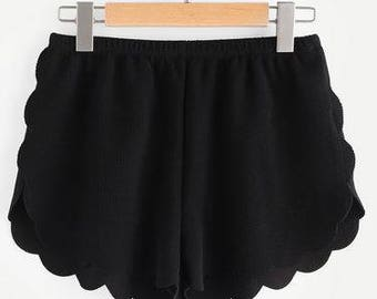 Black Scallop Hemed Shorts