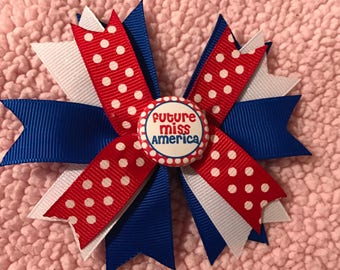 4th of July Miss America hair bow
