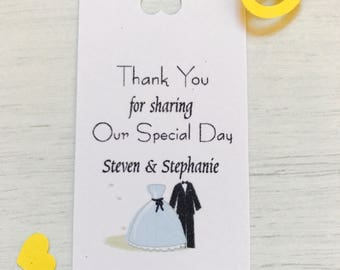 personalised wedding thank you tags (bride and groom)