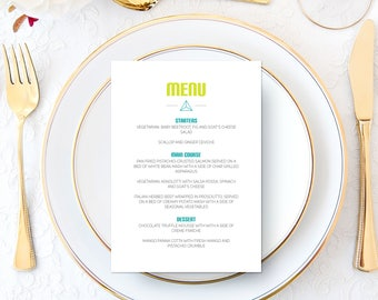 Hipster Menu Printable | Minimalist | Contemporary | Personalised | Elegant | Lime | Teal | Sophisticated | Modern | Wedding