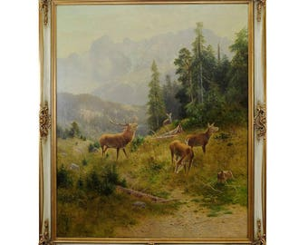 Ludwig Skell - Stag with does in the Black Forest