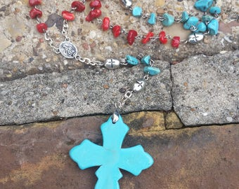 Turquoise and Red Stone Rosary