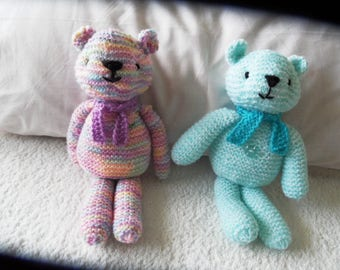 Hand Knitted Teddy With Scarf