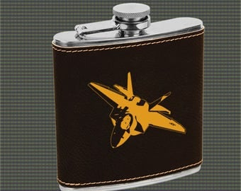 Leatherette Flask - Military Aircraft Designs