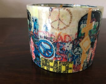 Chunky Plastic Bangle Bracelet with Peace Art Work Glossed Paper Mache
