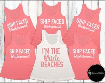 Funny Bridesmaid Shirts Bridal Shirts Bridesmaid Shirt Set Bachelorette Party Shirts Bridesmaid Tank Tops Wedding Shirts Ship faced shirts
