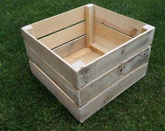 "Reclaimed Pallet Wood Crate 16"" x 16"" x 10"" . . . (aka storage bins, distressed wood crate shelf, cabin box, farm crate cabin box, basket)"