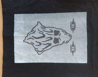Black executioner t-shirt with gray and black ink