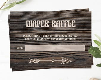 Printable Diaper Raffle Ticket Baby Raffle Card Printable Diaper Raffle Game Instant Download Woodland Baby Shower Games Dark Wood Look BBD