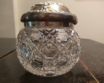 1920's Silver Cut Glass Dresser Pot
