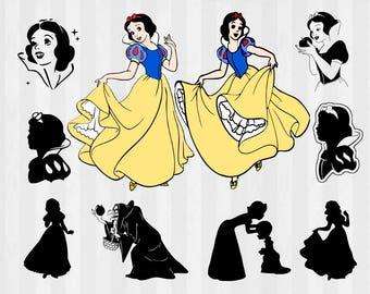 Snow White SVG Bundle, Snow White clipart, Princess cut files, svg files for silhouette, files for cricut, svg, dxf, eps, cuttable design