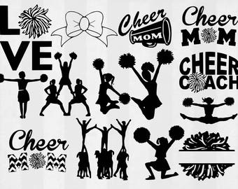 Cheerleader SVG Bundle, Cheer clipart, Cheer cut files, cheer mom svg, Cheer svg files for silhouette, files for cricut, cuttable design