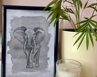 Painting Elephant Home Decor Watercolour And Ink Grey Small Animal Art