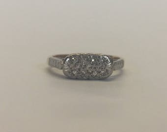 18ct Gold And Platinum Beadset Diamond Ring