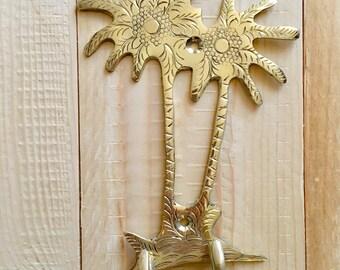 Palm tree (twin) brass coat hook