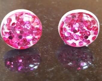 Ballerina Pink with Raspberry Glitter Studs