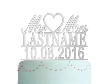Wedding Cake Topper Silver, Mr And Mrs Cake Topper Silver, Mirror Silver Cake Topper, Monogram Cake Topper, Unique Mirror Silver Cake Topper