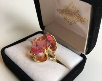 60's Bubble Gum Pink Crystal Ring Size 6