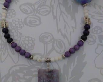 Purple gemstone bead pendant necklace/agate pendant necklace/multi gemstone jewelry/women purple necklace/Statement jewelry/gemstone jewelry
