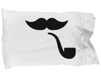 Mustache and Pipe Pillow Case