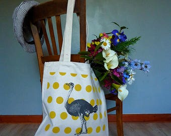 Tote bag - ostrich mustard laws - canvas tote bag screen printed, long handles