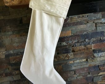 Ivory christmas stocking | Etsy