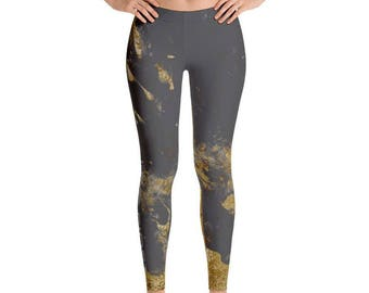 Gold Dipped Grey Marble Legging