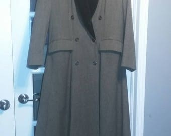 MINT Classic Jaeger Wool Velvet Flared/Swing Long Pea Coat 70s