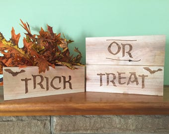 Set of three handmade halloween signs. Trick or Treat. Halloween decor. Create your own design with three separate pieces. Free shipping.