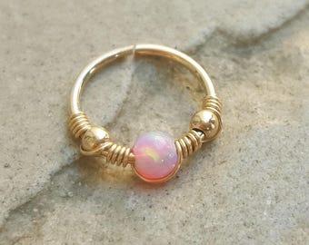 Nose Ring gold,18g Nose Ring,Nose ring hoop,20g nose ring,opal nose ring,gold nose ring,small nose ring,thin nose ring,nose ring jewelry