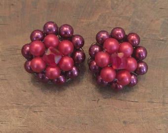 Vintage Red Cluster Bead Japan Clip Earrings